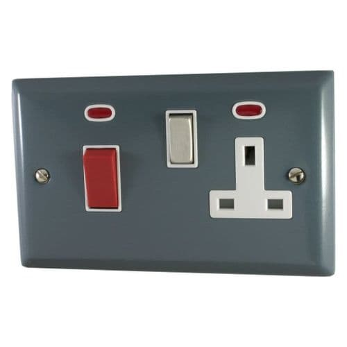 G&H SDG229 Spectrum Plate Dark Grey 45 Amp DP Cooker Switch & 13A Switched Socket